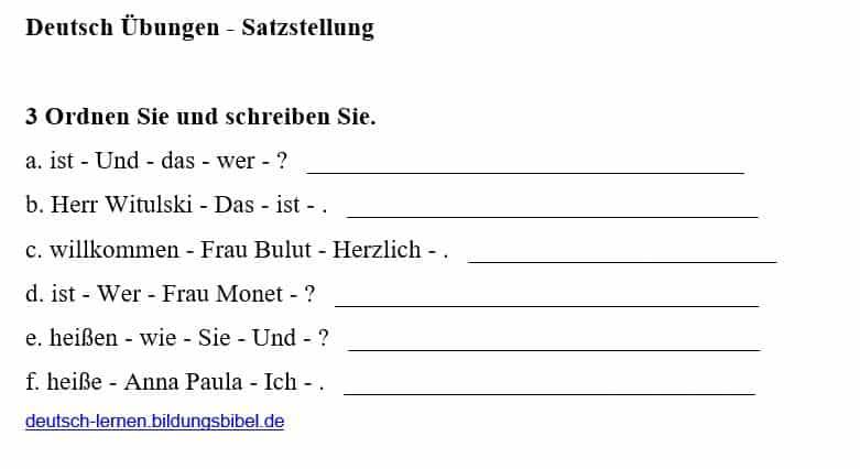 Richtige Satzstellung üben, Deutsch Übung 3