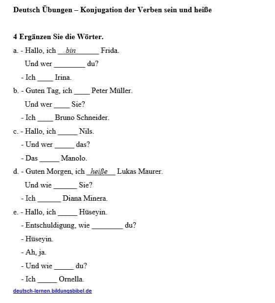 Verben Konjugation, die Verben sein und heiße konjugieren lernen