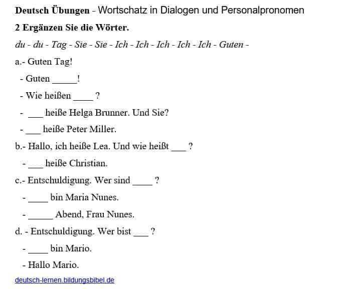 Deutsch Übungen, Aufgaben, Arbeitsblätter