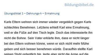 Deutsch Diktat 1 - Ermahnung, Arbeitsblätter, Übungen