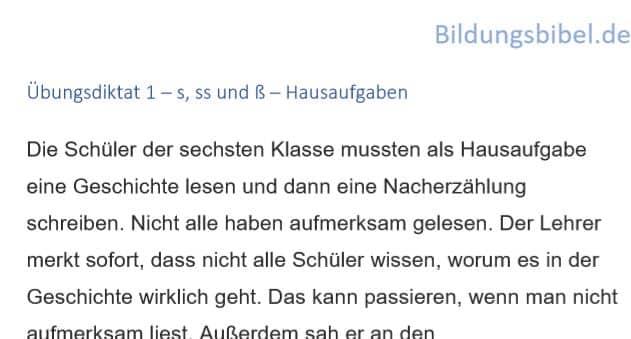 Deutsch Diktat 1 s, ss,, ß, scharfes s - Hausaufgaben, Arbeitsblätter, Übungen