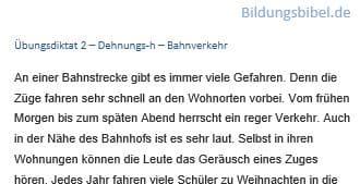 Deutsch Diktat 2 - Bahnverkehr, Arbeitsblätter, Übungen