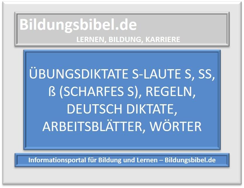 Übungsdiktate s-Laute s, ss, ß (scharfes S), Regeln, Deutsch Diktate, Arbeitsblätter, Wörter sowie Lernstrategien