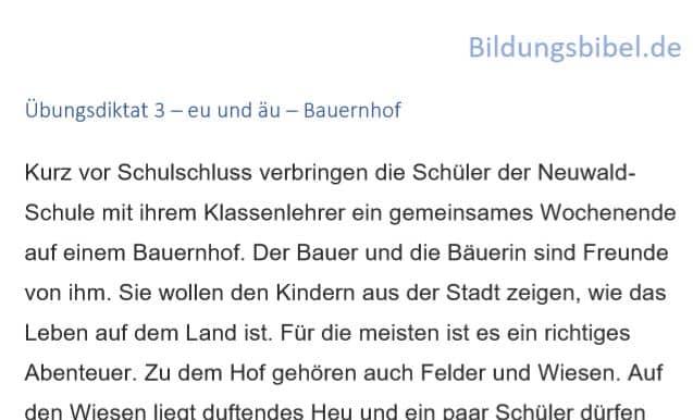 Deutsch Diktat 3 äu und eu - Bauernhof, Arbeitsblätter, Übungen